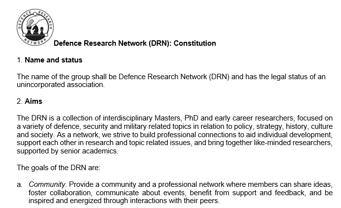 Defence Research Network (DRN): Constitution