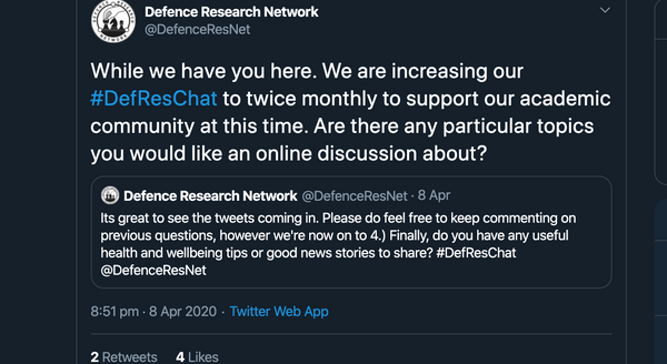 Defence Research Network Twitter Hour